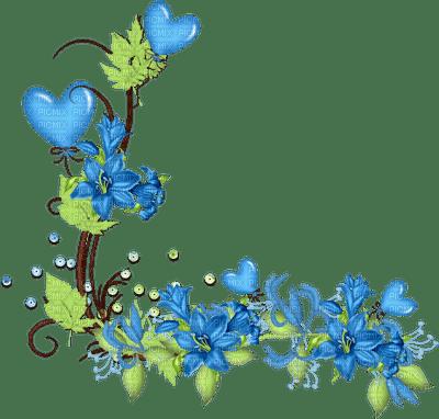 bleu fleur coeur deco blue flower border