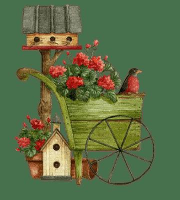 Garden Wheelbarrow Birdhouse Deco