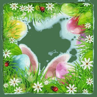 spring printemps frühling primavera весна wiosna  fond background   easter ostern Pâques paques garden jardin   paysage  landscape  egg eggs eier œufs grass herbe flower fleur tube frame cadre bunny ears