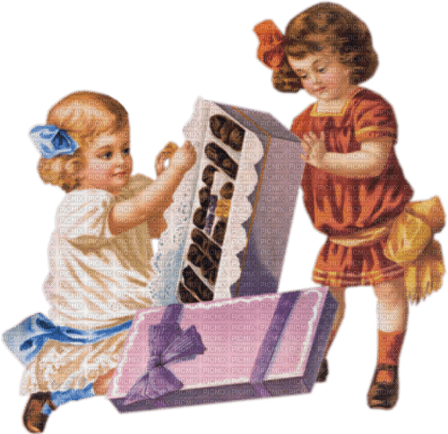 two little girls and box, Joyful226, Connie