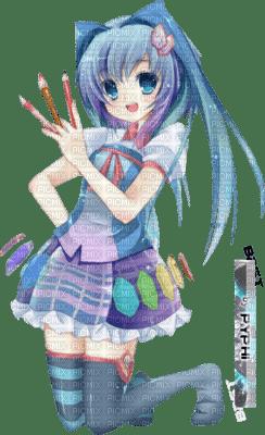 Peintre Fille Manga Pinceaux Pinceau Bleu Dessin Peinture