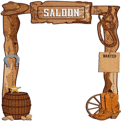 saloon frame cowboy, frame cowboy - PicMix