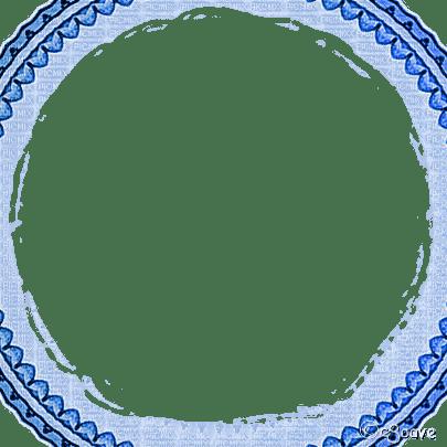 soave frame vintage deco circle corner blue