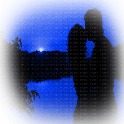 couple silhouette sunset blue