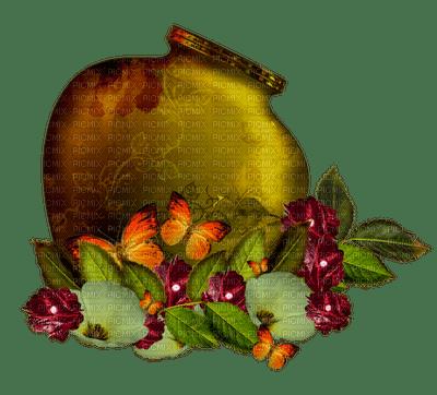 Vase déco fleurs et papillons