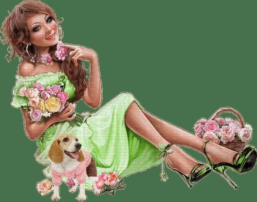 Woman. Dog. Flowers. Leila