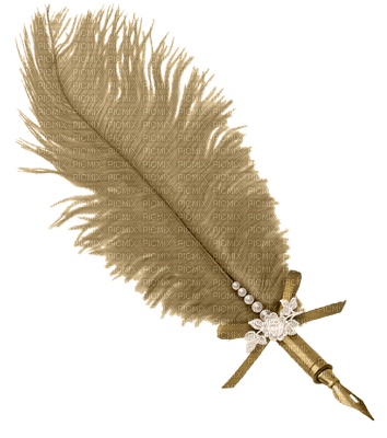 tan feathered pen