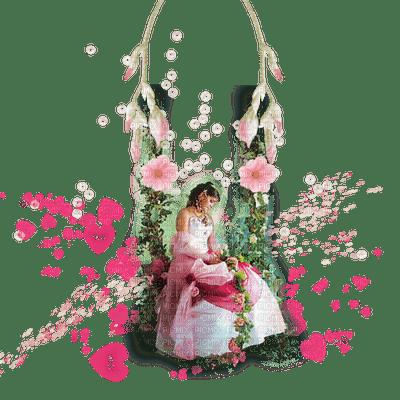 woman femme frau spring printemps fleur flower deco garden jardin swing schaukel heart coeur pink tube