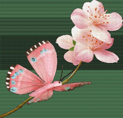 Papillon rose sur branche de fleurs roses