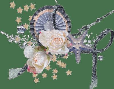 Déco fleurs et coquillages - Etoiles et ruban
