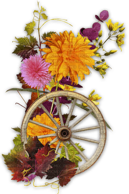 autumn wheel deco flowers automne  roue fleur