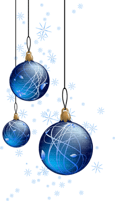 blue christmas balls deco