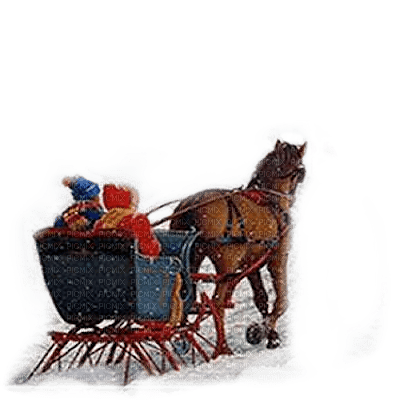 winter sleigh horse childs  hiver traineau enfants