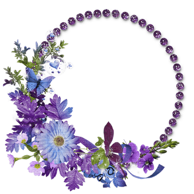 purple flower frame circle