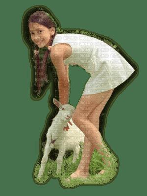 child girl lamb enfant fillette agneau