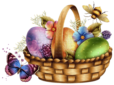 easter basket with eggs pâques