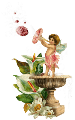 fee fairy spring printemps frühling primavera весна wiosna tube deco brunnen water Fountain fontaine wasser eau garten garden jardin flower fleur ange angel fantasy