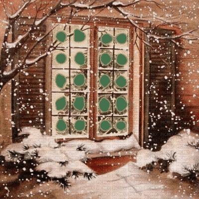 fond winter hiver house window fenster frame cadre fenêtre
