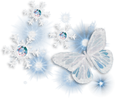 winter hiver butterfly papillon snow neige diamond blue deco