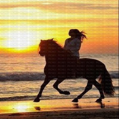 femme cheval coucher de soleil fond