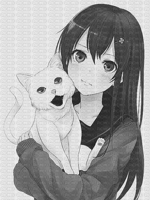 Fille manga en noir et blanc avec son chat fille manga en - Chambre fille noir et blanc ...