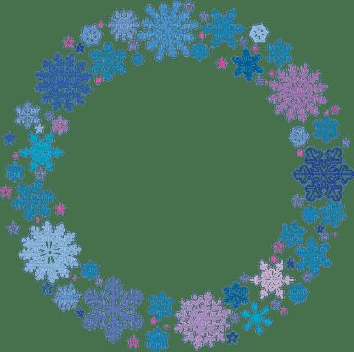 snowflake frame blue  circle winter cadre de flocon de neige cercle