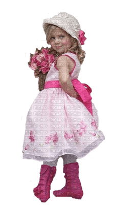 Fille.Girl.Niña.fillette.Pink.bouquet.chapeau.Printemps.Spring.Primavera.Victoriabea