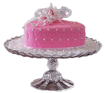 Pink Heart Cake on Stand