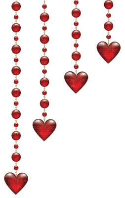 red hearts hangíng deco valentine rouge coeur valentin