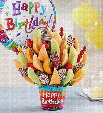 multicolored image encre happy birthday sweet treats strawberries chocolate fruit bouquet balloon edited by me