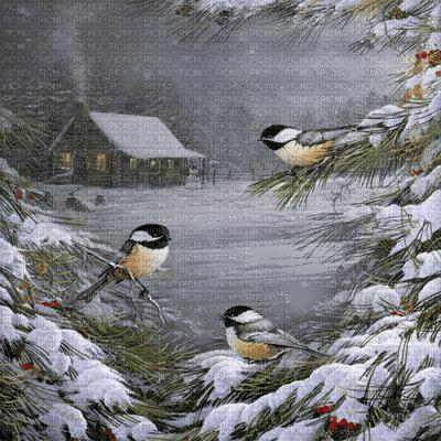 winter bg transparent house birds