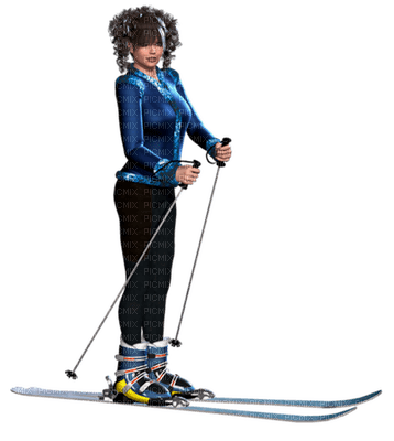woman winter ski femme hiver skiing patin