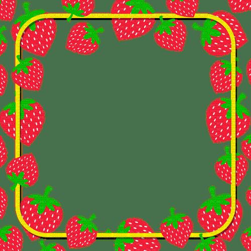 Cadre fraise strawberry frame fruit rouge red