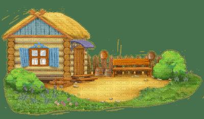 paysage, déco ,gif ,animation ,de fleurs ,de papillon,village,house,fond,Pelageya
