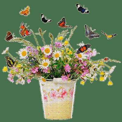 Bouquet fleurs avec Papillons