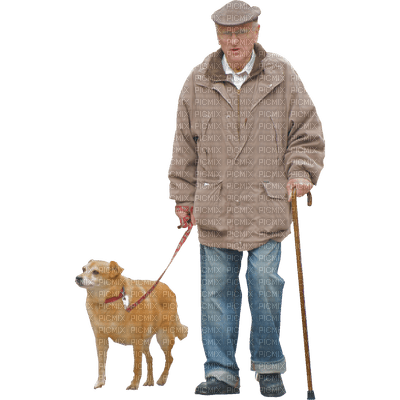 Kaz_Creations Old Man With Dog Pup