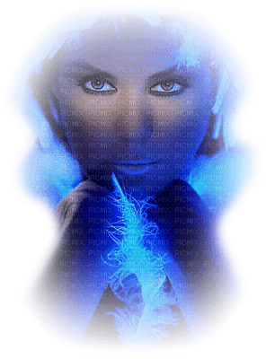 femme bleu blue woman face fantasy