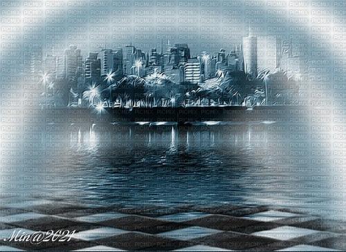 bg blå stad och vatten