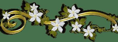 blanc fleurs deco or white flowers border