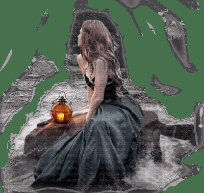 woman with lantern femme lanterne