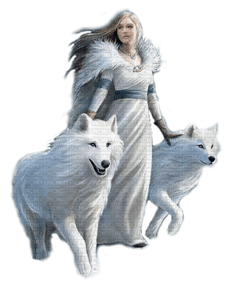 fantasy woman with wolfs