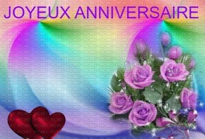 Image Encre Joyeux Anniversaire Fleurs Bouquet Coeur Roses