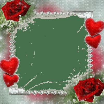 red rose heart frame deco rouge rose coeur cadre