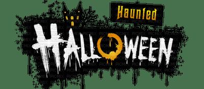 haunted halloween deco text vintage