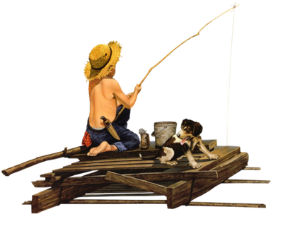 Kaz_Creations Baby Enfant Child Boy Fishing Dog