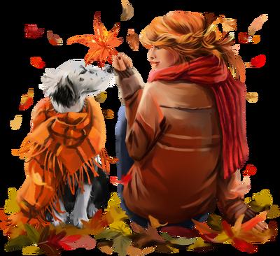 automne femme chien automne woman dog