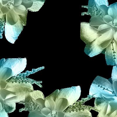 teal green floral summer frame