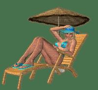 woman femme frau beach plage strand   deco    summer ete  tube  sommer  deck chair parasol