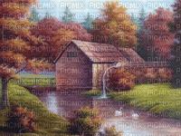 munot - herbst landschaft fluss haus hintergrund - autumn landscape river house bg - automne paysage rivière maison fond