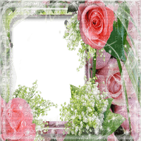 cadre muguet roses frame lily of the valley